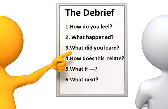 """debriefing importance The leader's role the role of the facilitator is an important part of a well-run debriefing if you're doing a """"tailboard debrief"""" immediately after the incident, a company or chief."""